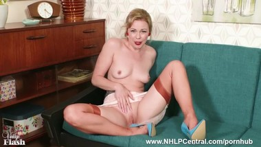Blonde Lucy Lauren wanks in French vintage nylons girdle high fetish heels