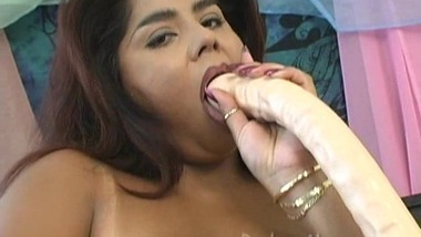 Chubby BBW Latina Sucking and Fucking a Huge Dildo