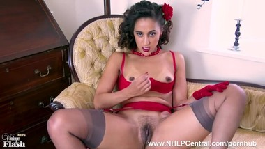 Ebony babe Ella Dearest wanks off in vintage lingerie seamed nylons heels
