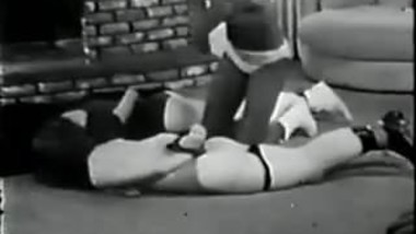 Vintage Black mistress spanking two white girls