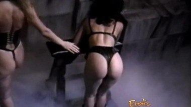 Slutty brunette hussy receives a proper spanking from her