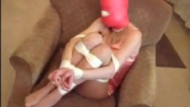 Gagged and hooded with multiple pairs of panties and vetwrap Part 2