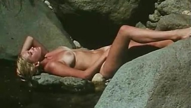 Wild Blonde Posing at the Waterfall (1970s Vintage)