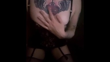 Gothic Dom in Vintage Lingerie & Stockings