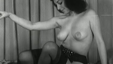 Vintage Brunette Strip Tease - Black and white titties