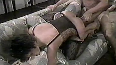 hot interracial threesome in the living room 1 - VHS lovers