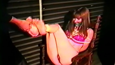 Vintage chairtied girl feet tickled